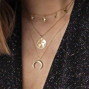 Layered Gold Star Map Earth Moon Necklace